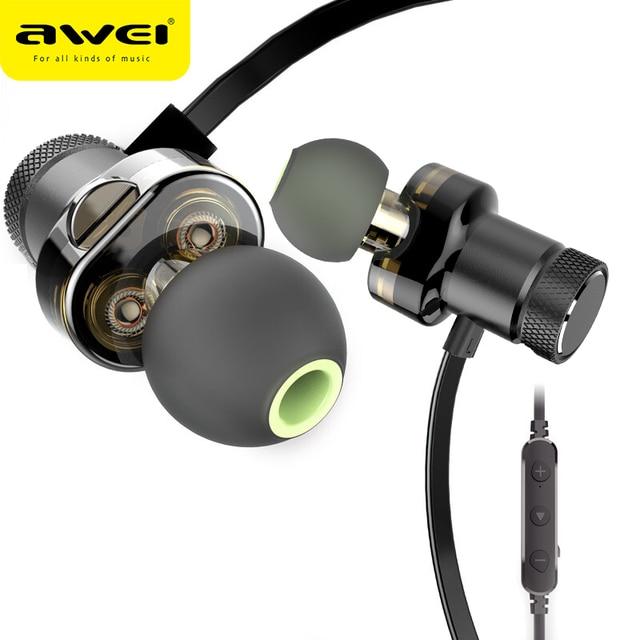 AWEI T13 블루투스 이어폰 듀얼 드라이버 무선 헤드폰 하이파이 스테레오 사운드 헤드셋 이어폰 마이크 Fone de ouvido For Phone