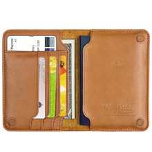 Leather passport bag ticket holder travel document storage bag multi-function simple card package light portable passport cover(China)