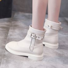 Women's Ankle Boots Woman Buckle Zipper Soft Pu Leather Short Boot Female Chunky Heels Botas Ladies Causal Women Autumn Shoes(China)