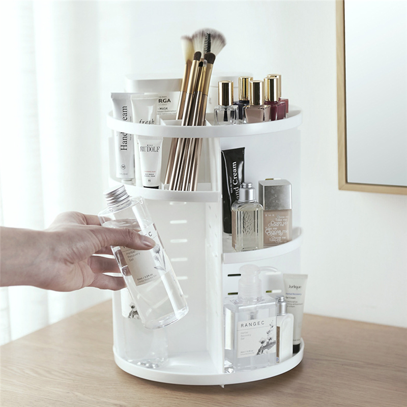 360 Degrees Rotation Stand For Cosmetics Dressing Table Multiple Compartment Cosmetic Storage Stand Holder Make Up Holder Rack