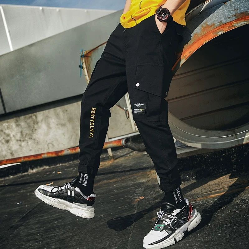 Fashion Men Pants Casual Mens  Hip Hop Rap Male Trousers Street Classics Mid Weight Straight Full Overall Breathing Loose Pant