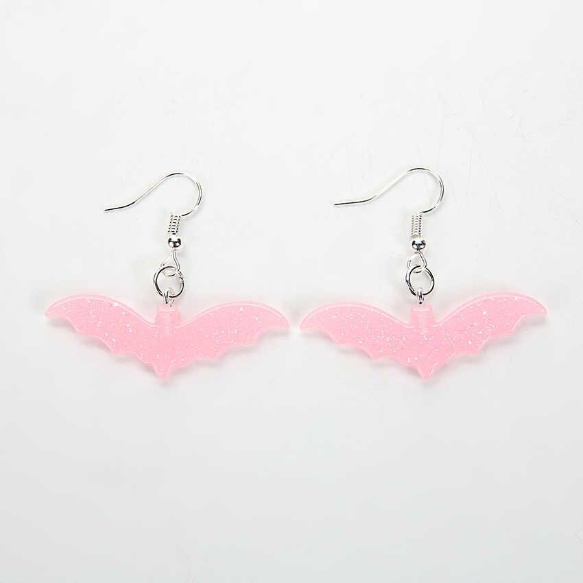 1 คู่ผู้หญิง Drop ต่างหู Glitter การ์ตูนค้างคาว-รูปร่าง Flatback เรซิ่น Dangle ต่างหูผู้หญิงวันเกิดของขวัญเครื่องประดับ
