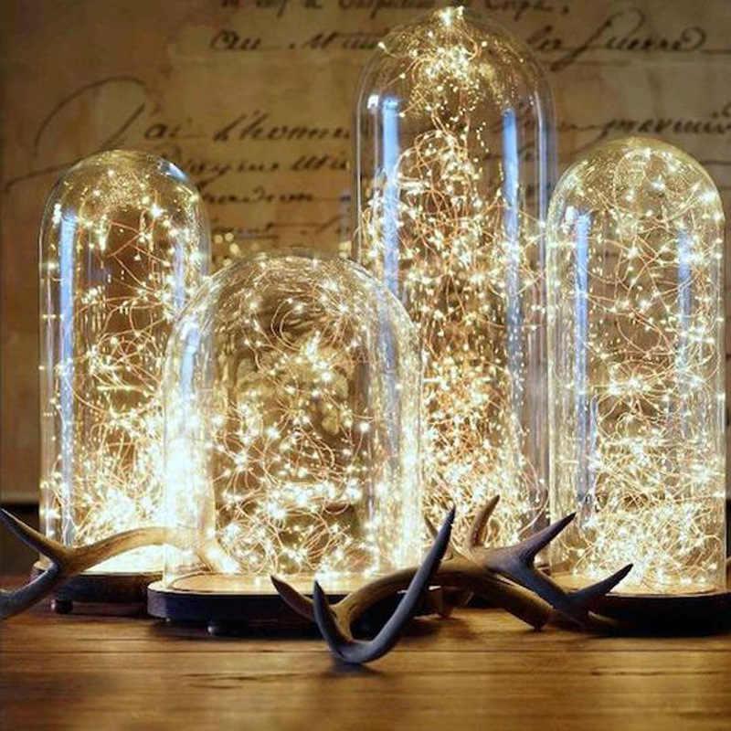 1m/2m/3m/10m 구리 와이어 배터리 상자 갈 랜드 LED 웨딩 장식 홈 장식 요정 파티 장식 문자열 빛에 대 한