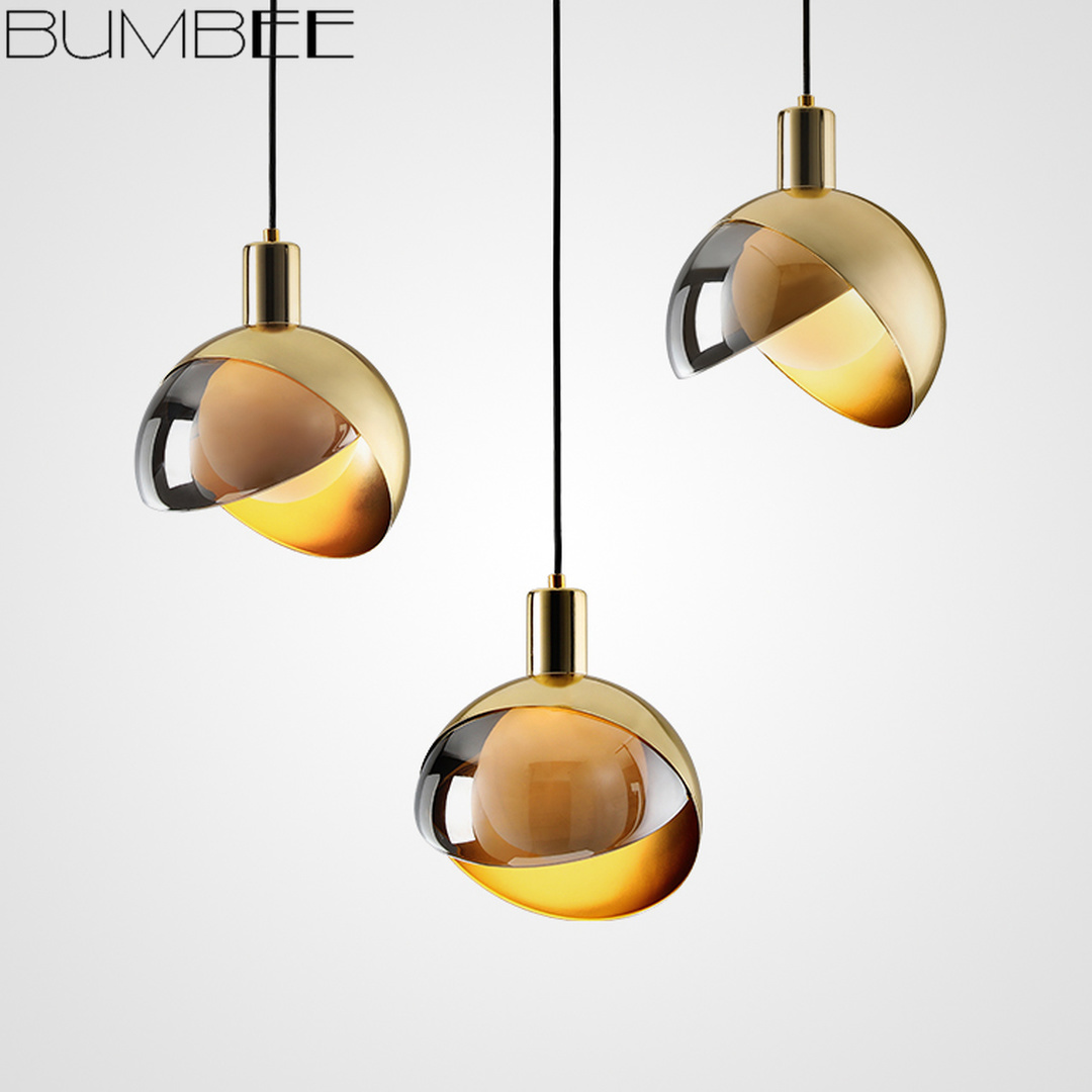 Nordic Luxury Ball Chandelier Electroplating Pendant Lamp Postmodern Living Room Bedroom Bedside Small Hanging Light Home Decor