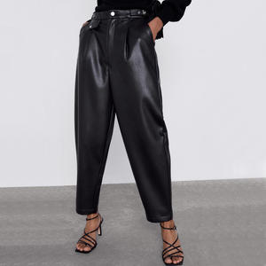 RR PU Leather High Waisted Pants Women Fashion Loose Faux Leather Trousers Women Elegant Pockets Pants Female Ladies JP