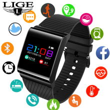 LIGE smart watch blood pressure oxygen heart rate detection color screen OLED sport Fitness tracker bracelet