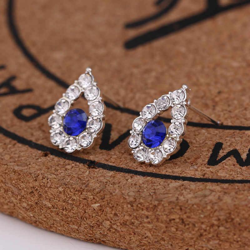 1Pcs Water DROP Blue Diamond ต่างหูเพชร EAR Studs PARTY Favors สำหรับวันวาเลนไทน์นำเสนอผู้เข้าพัก PARTY Favor souven