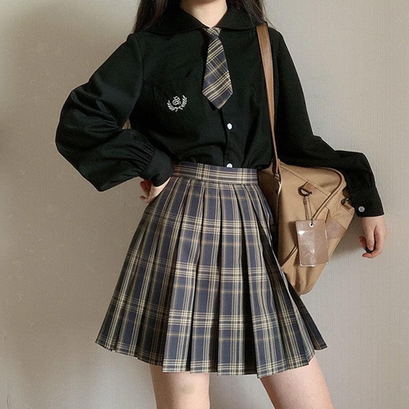 2021 Spring New Japanese Lantern Long Sleeve Black White Embroidered Shirt Jk Uniform Female College Style Student Shirt