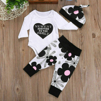 CANIS Newborn Baby Girl Clothes Long Sleeve Letter Printed Tops+Floral Printed Leggings Pants Outfit Set white random floral printed gym leggings