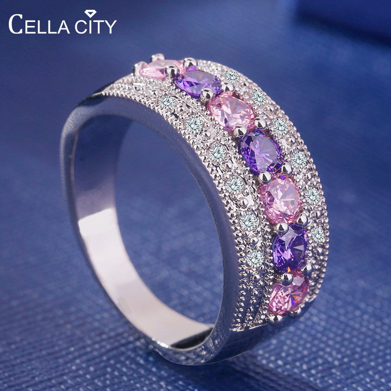 Gemstones-Ring Zircon Amethyst-Powder Crystal 925-Jewelry Silver Women Luxury Trendy title=