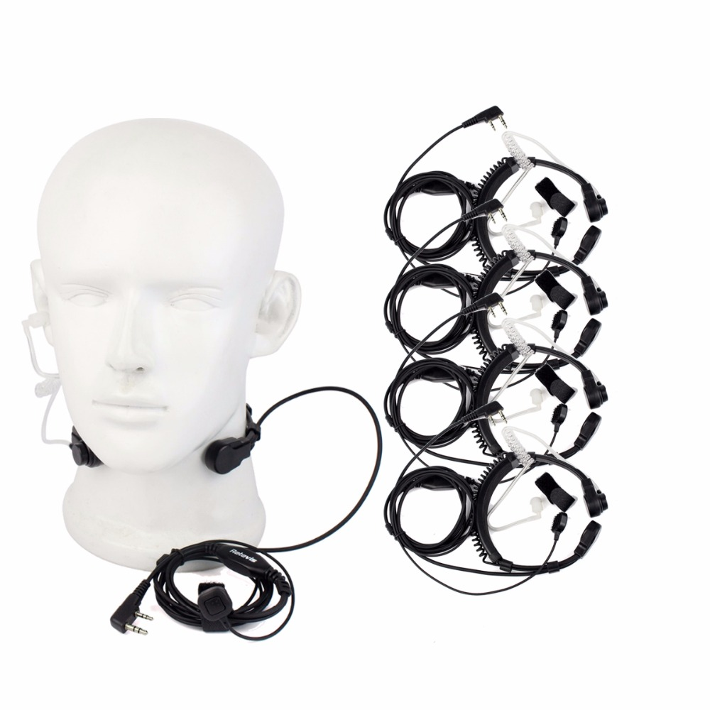 5pcs 2 Pin Throat Microphone Headset Headphones For Kenwood TYT Baofeng UV 5R UV-82 Retevis H777 RT5 RT22  Two Way Radio C9026A