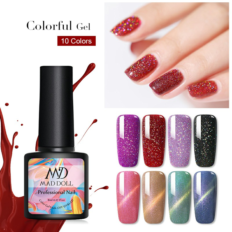 MAD DOLL 1 Bottle 8ml  Gel Polish Colorful Super  Shimmer Laser Holo Soak Off UV Gel Varnish  Nail Art