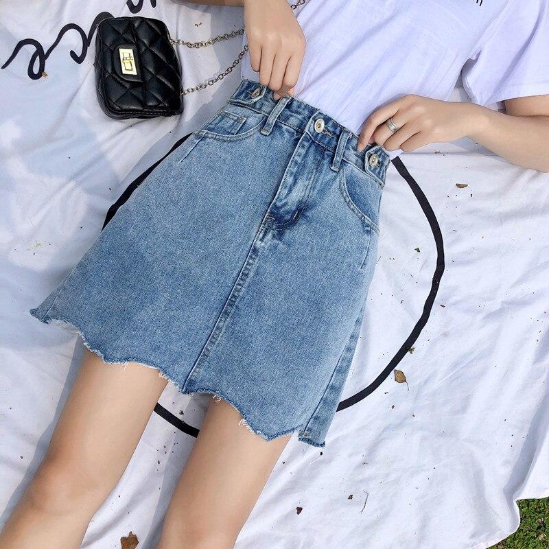 Southeast Asia 2019 Summer New Style Simple Decorative Buckle Cut Edge Denim Skirt WOMEN'S Short Skirt A- Line Asymmetric Skirt