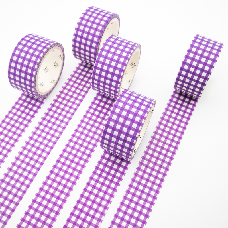 Purple Plaid Washi Tape Sticky Color Decorative Masking Paper Tape Set DIY Decoration Office Stationery Scrapbook 1PCS