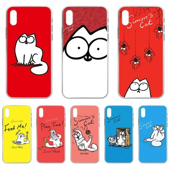 lovely Simons Cat trend shell Transparent Phone Case cover For iphone 4 4S 5 5C 5S 6 6S PLUS 7 8 X XR XS 11 PRO SE 2020 MAX image