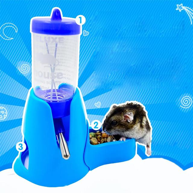 Hamster Drinker Feeder Automatic Kettle Three-in-one Feed Water Supplies Drinking Water Mini Bowl Pot Holder Water Bottle Small 5