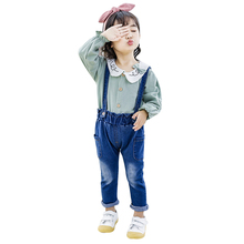 Autumn Baby Girl Clothes Long Sleeve Blouse Tops Denim Strap Pants Suit Girls Clothing Set Children Casual Outfits 1-4T