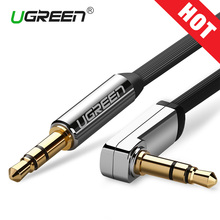 цена на Ugreen 3.5mm audio cable 90 degree right angle flat jack 3.5 mm aux cable for iPhone car headphone beats speaker aux cord MP3/4