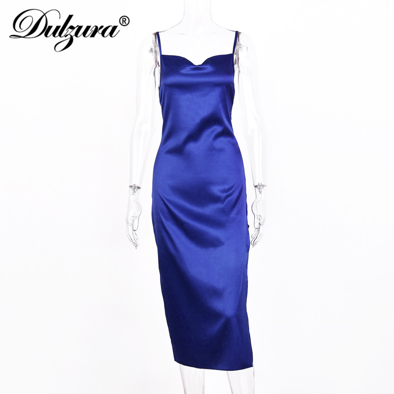 Dulzura satin silk women midi dress strap side slit backless sexy streetwear 2019 autumn winter party clothes elegant dinner 5