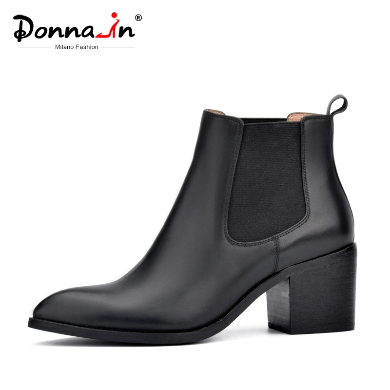 Donna-in 2020 New Style Genuine Leather Ankle Boots Pointed Toe Thick Heel Chelsea Boots Calf Leather Women Boots Ladies Shoes