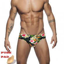 New Low Waist Swimwear Push Pad Swim Briefs Print Men Swimsuit Sexy Bathing Suit Quick Dry Summer Sport Beach Wear Surf Gay(China)