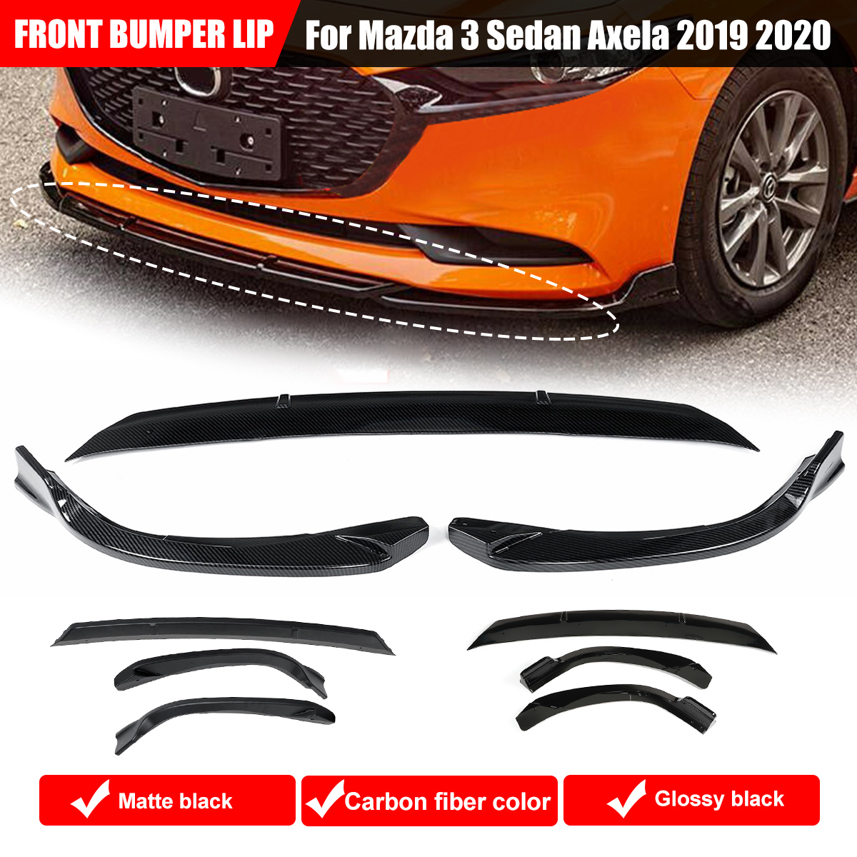 Front Bumper Lip Body Protector Cover Kit Spoiler Exterior Parts For Mazda 3 Sedan Axela Sedan 2019 2020|Bumpers| |  - title=