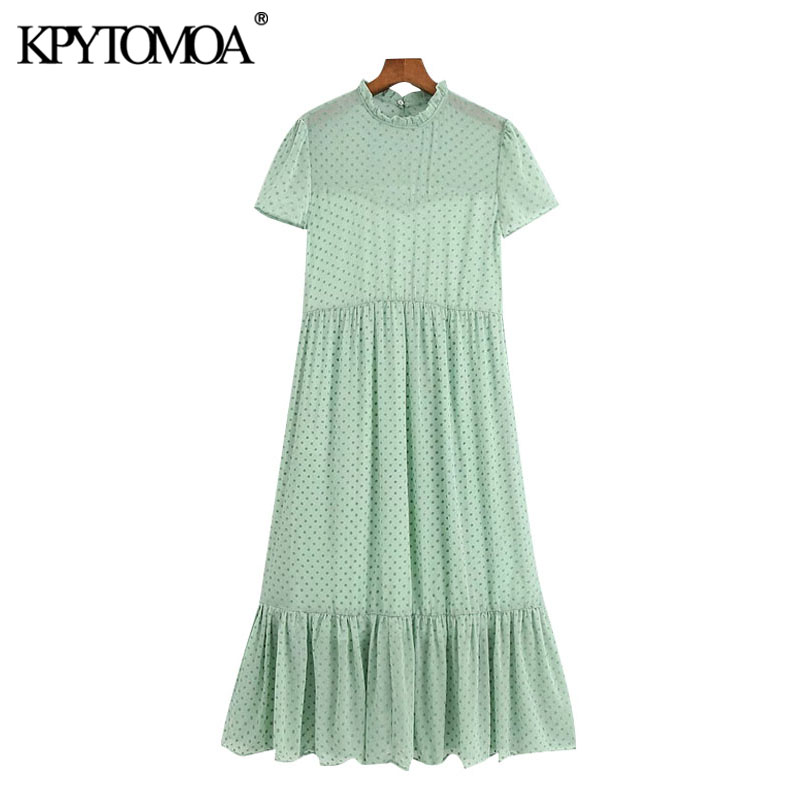 KPYTOMOA Women 2020 Chic Fashion Candy Color Dot Chiffon Pleated Midi Dress Vintage O Neck Short Sleeve Female Dresses Mujer