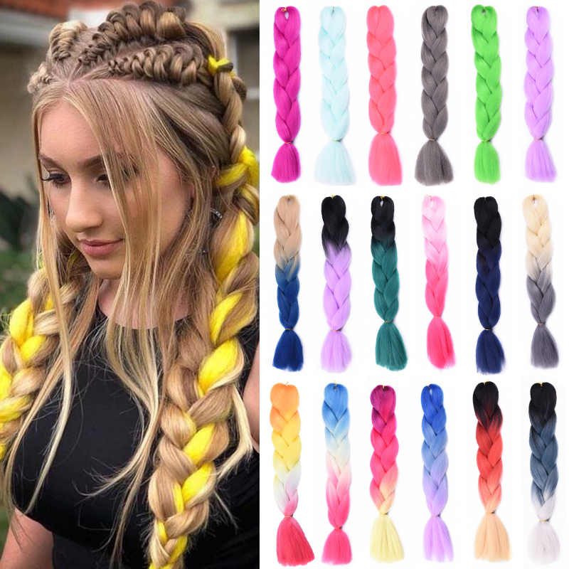Kanekalon Jumbo Braid Synthetic Ombre Braiding Hair Xpression Hair For Braids Crochet Tresse Extension Hair For African