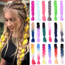 Kanekalon Jumbo Braid Synthetic Ombre Braiding Hair Xpression Hair For Braids Crochet Tresse Extension Hair For African(China)
