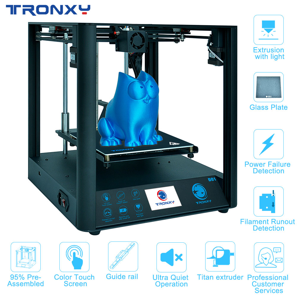 2019 Tronxy 3D Printer D01 Guide Rail Core Titan Extruder High-precision DIY Printing Fast Assembly Ultra-Quiet Design New image