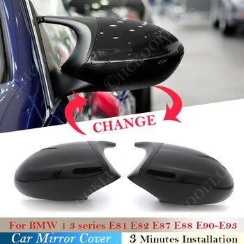 Replacement Gloss Black Cover Rear View Side Wing Mirror Cap For BMW 3 1 Series E88 E87 E82 E81 E90 E91 E92 E93 Car accessories for bmw m1 e82 m3 e90 e92 e93 2008 2013 add on style carbon fiber body side rear view mirror cover
