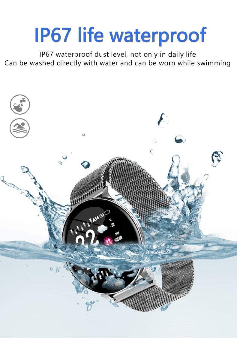 Hc62d27f11f6a458087f25156f2b2542a6 Cobrafly W8 Smart Band Steel Strip IP67 Waterproof Fitness Tracker Watch Men Women Smart Sports Clock Heart Rate Monitor Watches