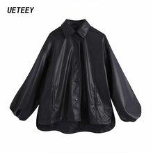 Женская рубашка из полиуретана большого размера пальто Элегантная