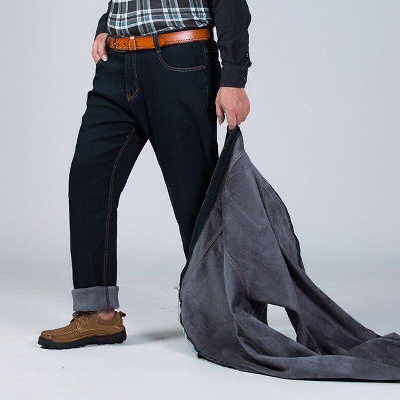 Image 2 - Winter plus size plus velvet thick jeans men fat people loose  increase big size warm pants 52 50 48 high waist male large sizeJeans