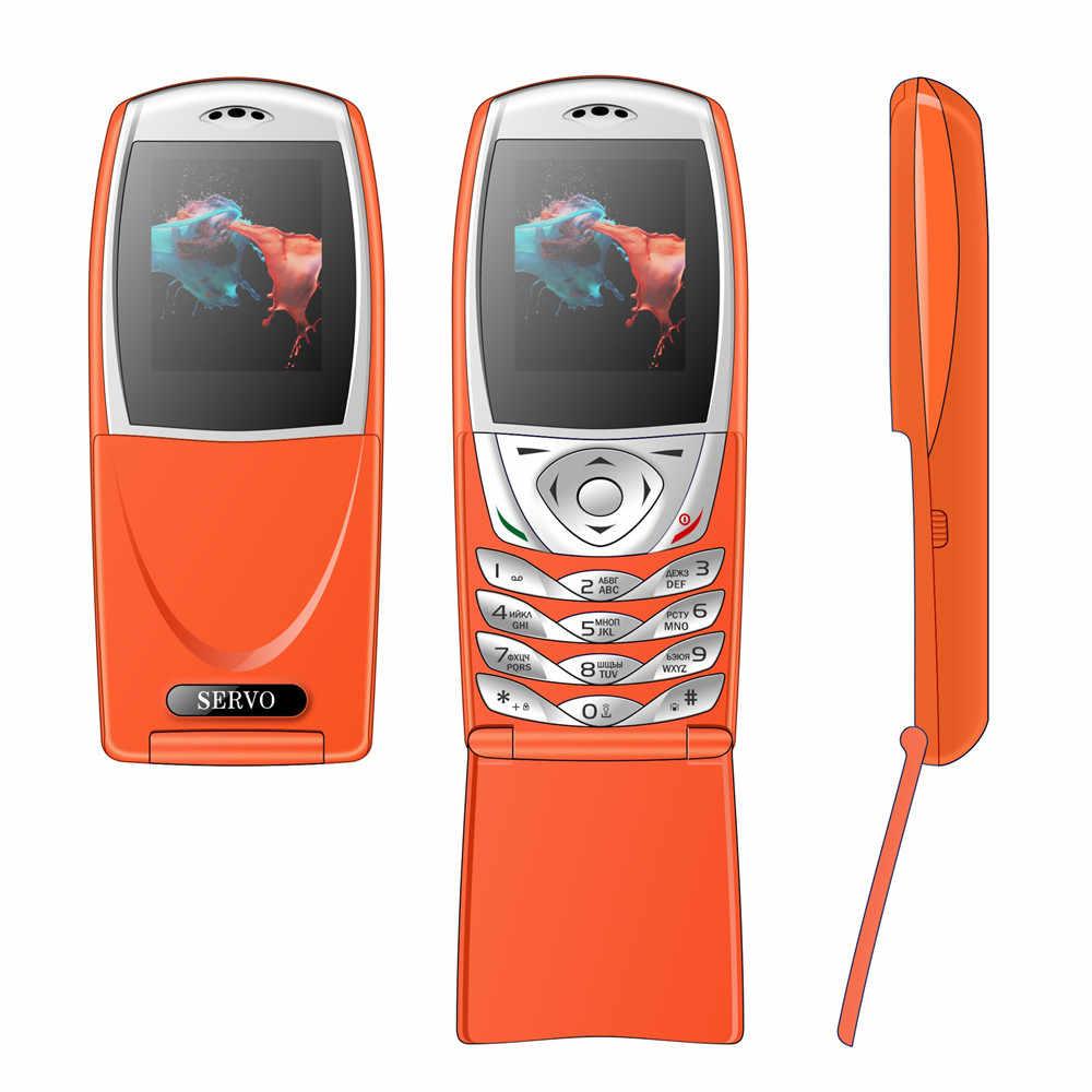 Teléfono Original SERVO S06 Dual SIM tarjetas Flip Phone 1,77 pantalla GPRS tarjetas de memoria ranuras móviles con teclado ruso