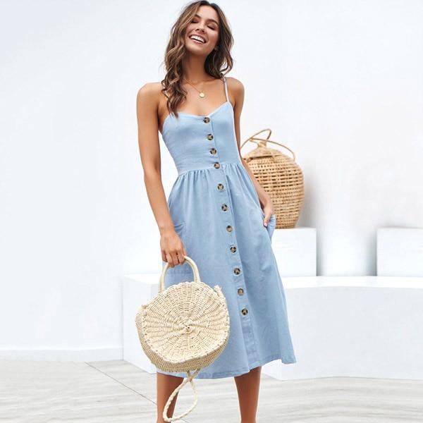 Boho Sexy Floral Dress Summer Vintage Casual Sundress Female Beach Dress Midi Button Backless Polka Dot Striped Women Dress2020  23