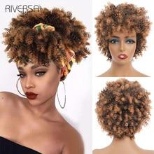 Perucas encaracoladas encaracoladas de alta temperatura da fibra encaracolado perucas de cabelo sintético para as mulheres negras 10 polegada ombre T2-30