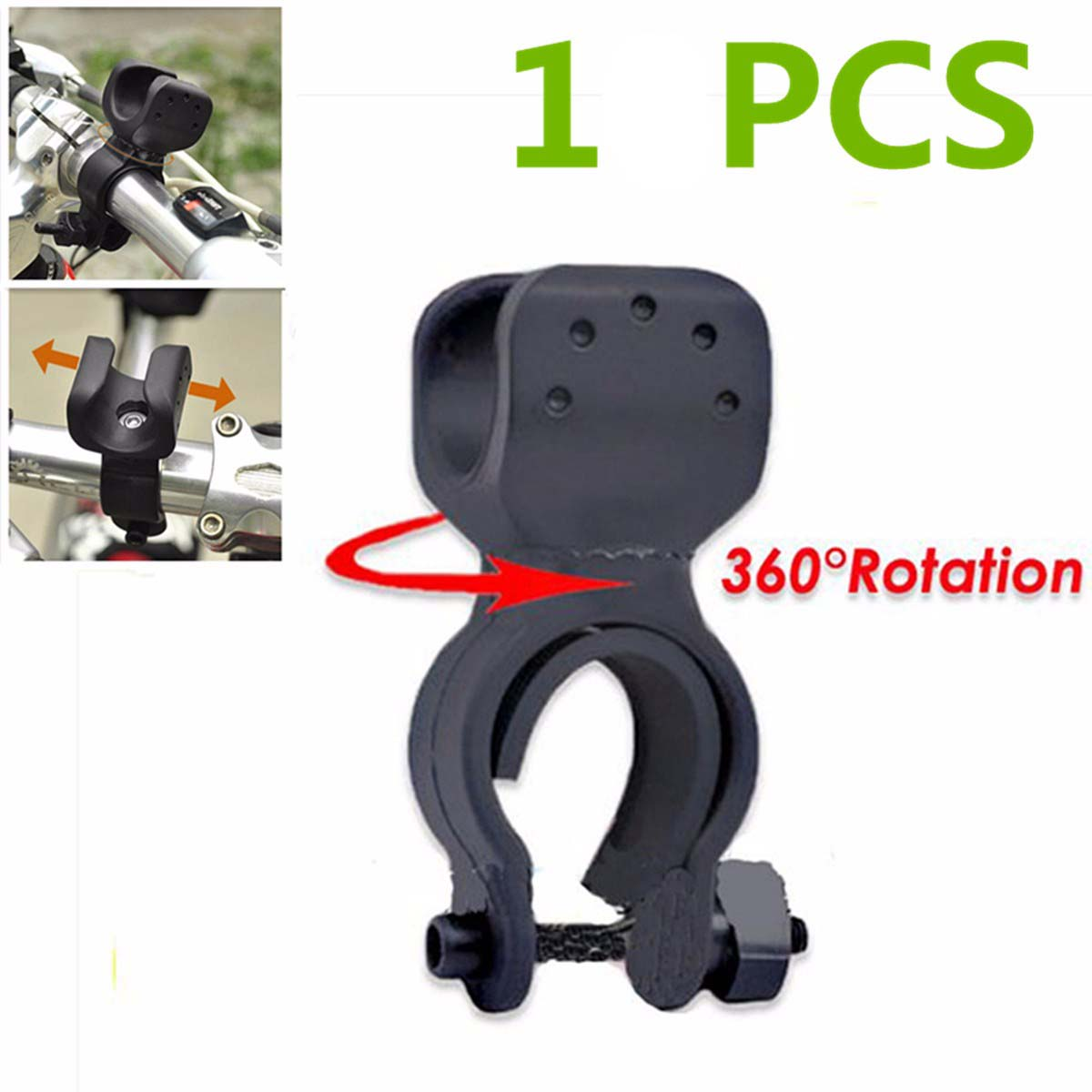 20.5cm Black Bike Bicycle LED Flashlight Torch Handle Holder Mount Clip With Adhesive Strap