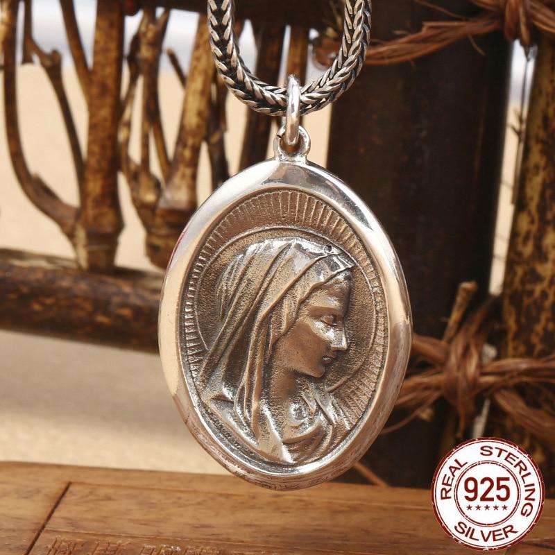 Creative Virgin Mary Portrait Pendant 100% 925 Sterling Silver colour Men Women Necklace Pendant fine Silver Jewelry sieraden