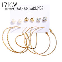 17KM Oversize Hoop Earrings Set Pearl Crystal Earrings For Women Gold Circle Heart Earring Set Brincos Fashion Jewelry(China)