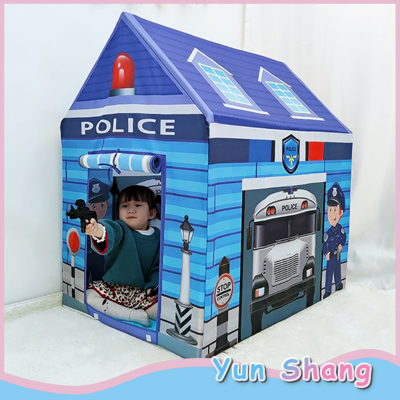 Kids Play Police Tent  Fire Truck Ice Cream Cart School Bus Car Tents Firefighter Policemen Pretend Play Gamehouse Toy Hut