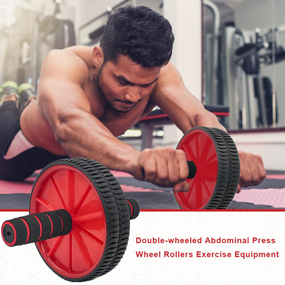 Exercising Press Wheel Rollers Crossfit Abdominal Double-wheeled Body Building Equipment With Hassock For Gym Accessories