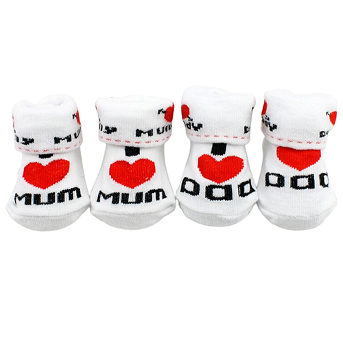 1Pair Newborn Baby Infant Boys Girl Cotton Slip-resistant Floor Socks Love Mom/Dad Pattern Suitable 0~6 Months Toddler 2