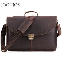 JOGUJOS Crazy Horse Leather Men's Briefcase Genuine Leather Men Briefcase Business Laptop Handbag Male Crossbody Shoulder Bags цена