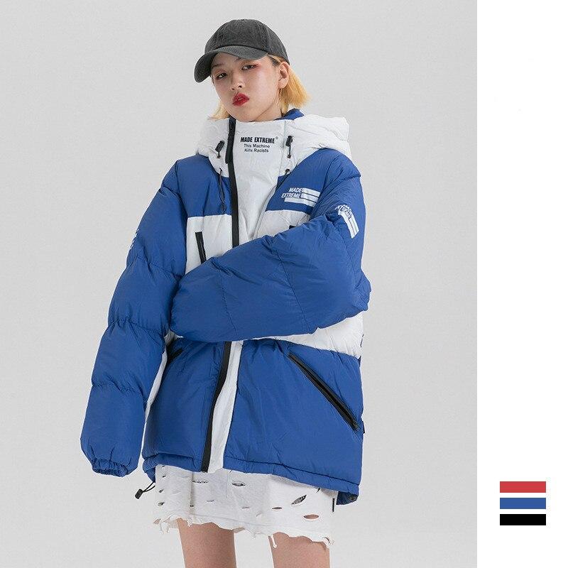 Hommes Streetwear Hip Hop épais à capuche chaud manteau hiver fermeture éclair épissure lâche décontracté coton rembourré Parka veste mâle vêtement d'extérieur pour femmes