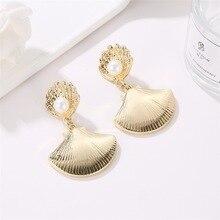 European and American Metal Earrings Ocean Wind Shell Pearl Lady Creative Trend Fan Tassle
