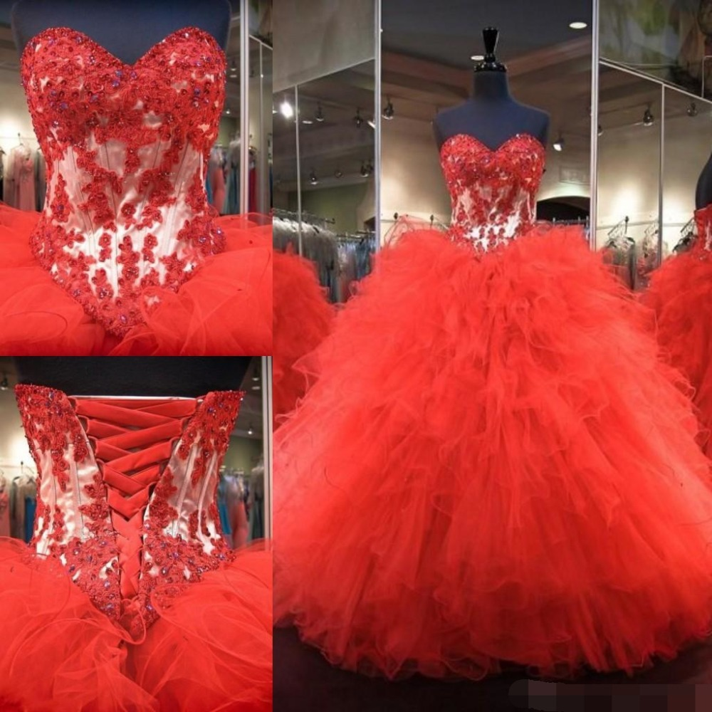 Red Lace Up Ball Gown Quinceanera Dresses 2019 vestidos de 15 anos Sweetheart Appliques Floor Length Red Sweet 16 Prom Dresses