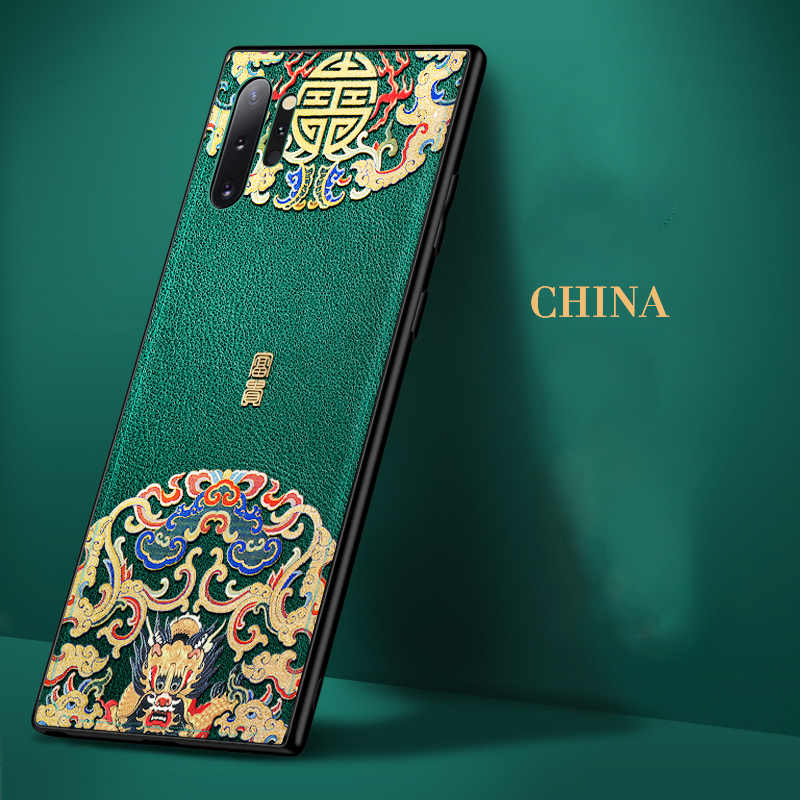 Aixuan 3D Funda de cuero para Samsung Galaxy note 10 plus/Samsung note 10 funda de teléfono China Dragon en relieve la cubierta verde