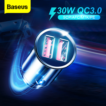 Baseus All Metal Quick Charge USB Car Charger For iPhone Xiaomi Huawei QC4.0 QC3.0 Auto Type C PD Fast Car Mobile Phone Charger baseus usb car charger quick charge 4 0 3 0 qc4 0 qc3 0 qc scp 5a type c pd fast car usb charger for iphone xiaomi mobile phone