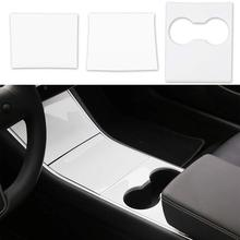 цена на 3 Pcs/Set Car Inner Center Console Gear Shift Box Sequin Water Cup Holder Cover Trim For Tesla Model 3 Protect Console Stickers